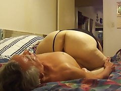 Licking granny's big Pussy