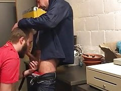Sucking off a married daddy at work