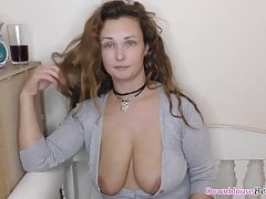Hot big boobs MILF with downblouse showing natural tits