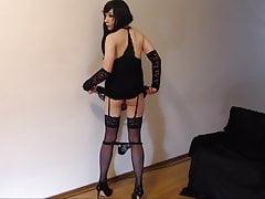 Sissy CD in black lingerie teases fucks pink dildo to cum