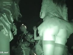 Crazy Halloween bottomless. Upskirt and real hidden cam