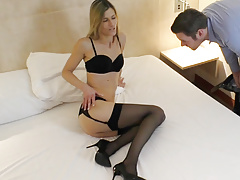 Skinny Sexy Business Lady Meets User From Internet