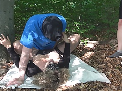 Jessica gets multiple creampies from 3 guys in the woods