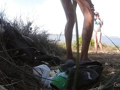 Public beach jerking. The girl passes and talks to me!!
