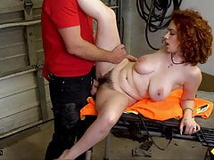 Car repair for a redhead with big tits